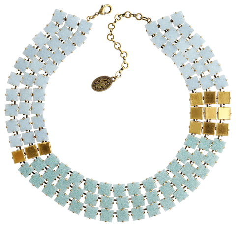 necklace collier Cleo light blue Light antique brass