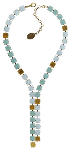 necklace-Y Cleo light blue Light antique brass