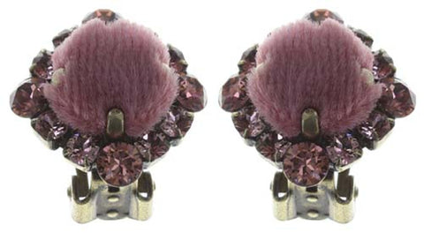 earring clip Velvet Glitz pink antique brass