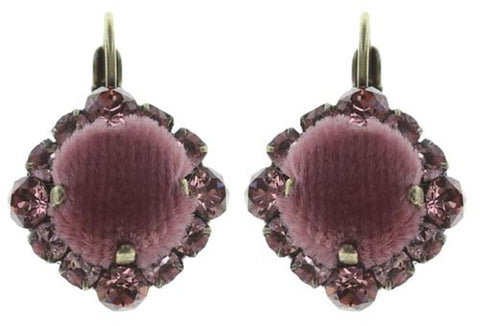 earring eurowire Velvet Glitz pink antique brass