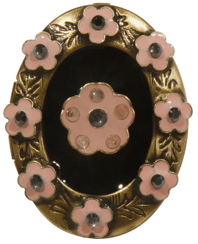 brooch Burlesque black/pink Very Light Antique Brass