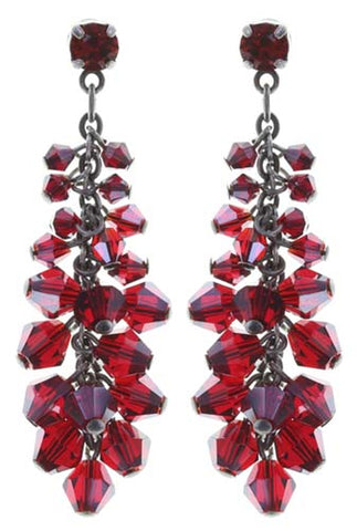 earring stud dangling Jumping Beads red antique silver