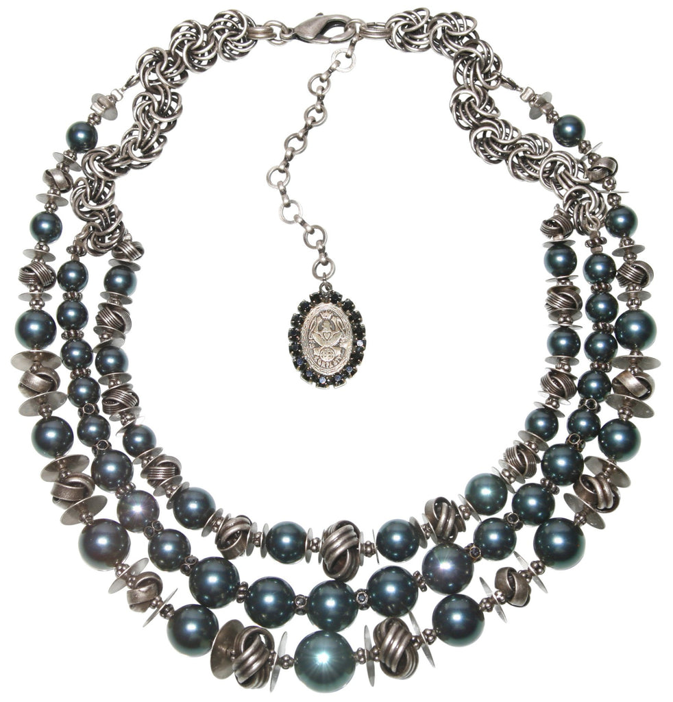 necklace collier La Comtesse black/blue antique silver