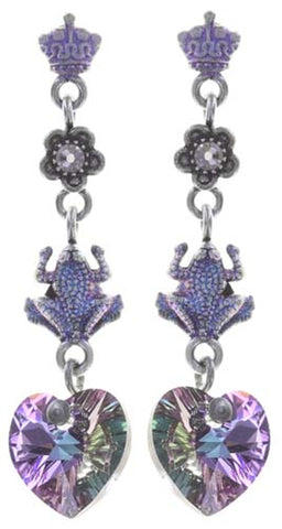 earring stud dangling Little Frog Prince blue/pink antique silver