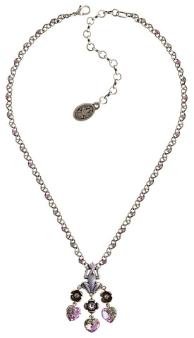 necklace Little Frog Prince blue/pink antique silver
