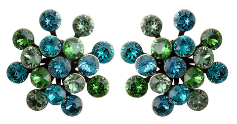 earring stud Magic Fireball blue/green antique brass