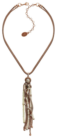 necklace pendant Chameleon white Light antique copper