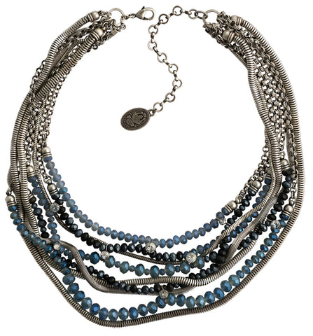 necklace Chameleon black/blue antique silver