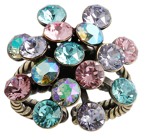 ring Magic Fireball pastel multi antique brass