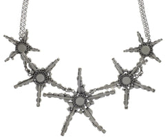 necklace collier Jelly Star white Light antique silver size XL,L,S