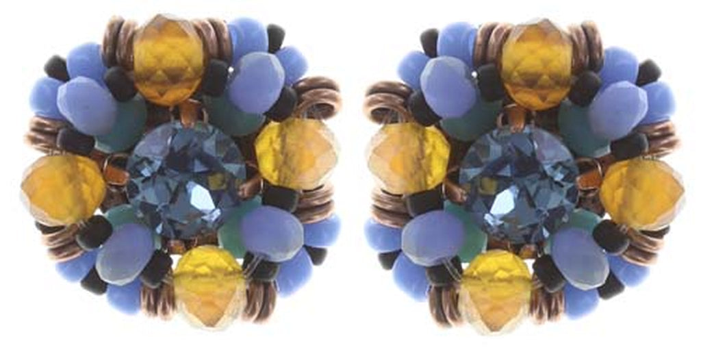earring stud Beat of the Beads blue/brown Light antique copper