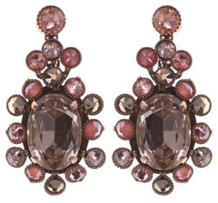 earring stud dangling Caviar Treasure beige/pink Light antique copper