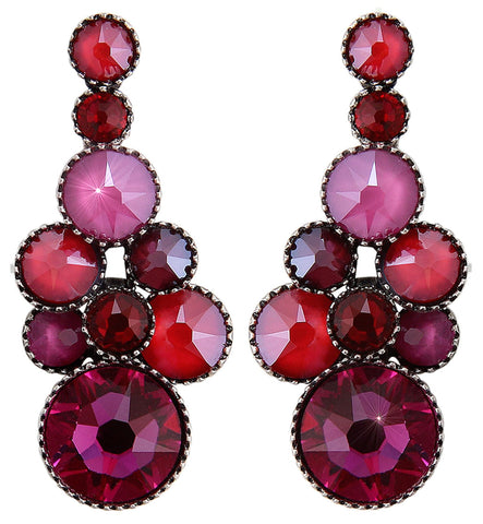 earring stud dangling Water Cascade dark pink antique silver