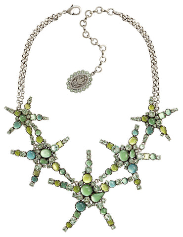 necklace collier Jelly Star green Light antique silver size XL,L,S