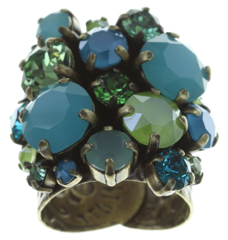 ring Ballroom Classic Glam blue/green antique brass