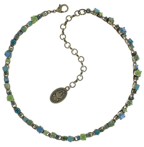 necklace choker long Ballroom Classic Glam blue/green antique brass