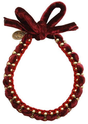 necklace knot Mongolian Princess red antique brass