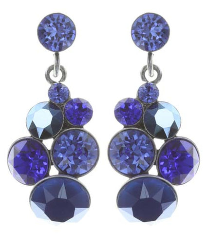 earring stud dangling Petit Glamour dark blue antique silver