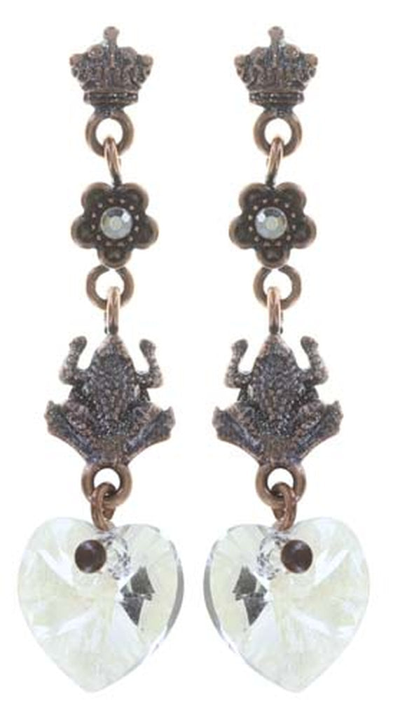 earring stud dangling Little Frog Prince white antique copper