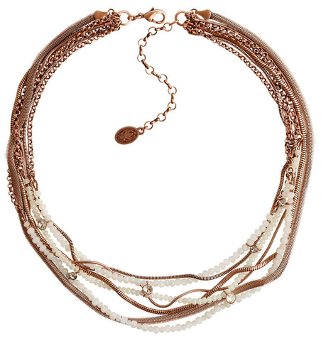 necklace Chameleon white Light antique copper