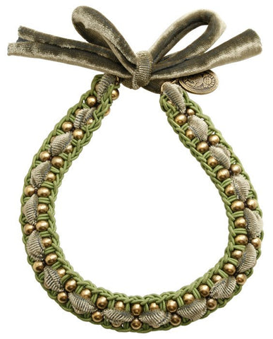 necklace knot Mongolian Princess green antique brass