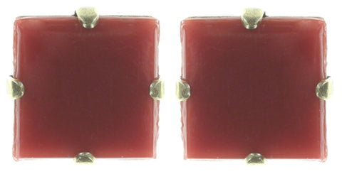 earring stud Cleo red Light antique brass