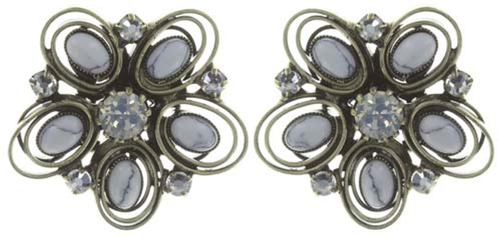 earring stud Boho Twist white antique brass size S