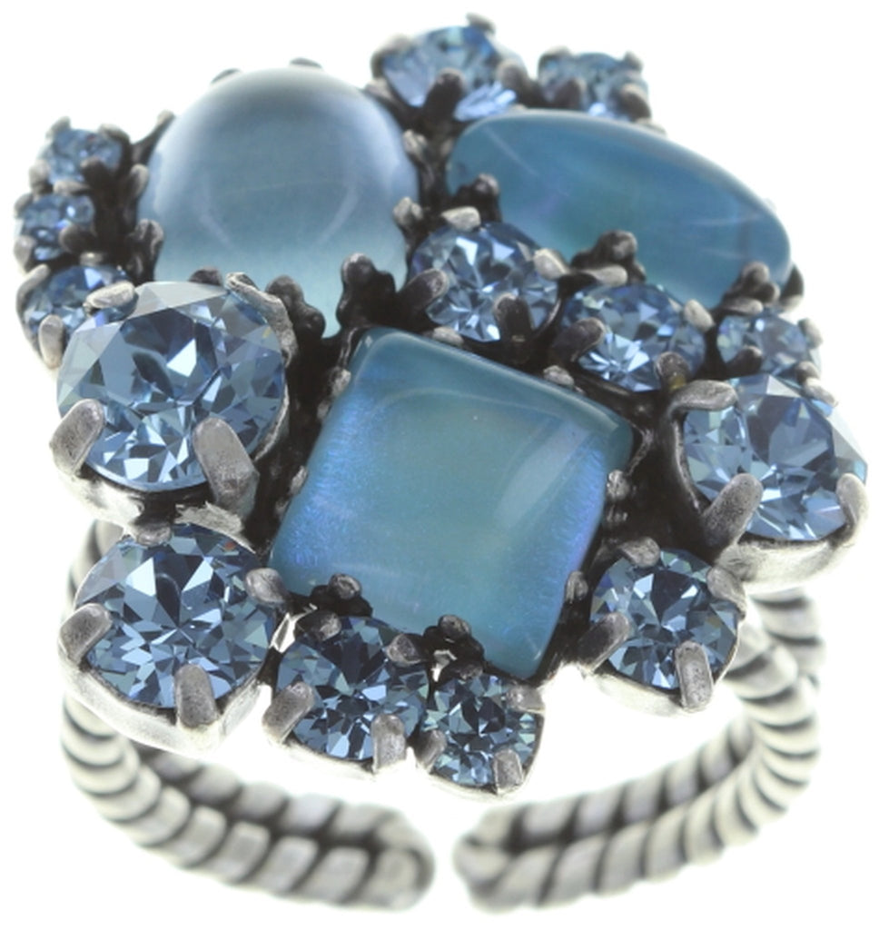 ring Jelly Star blue Light antique silver