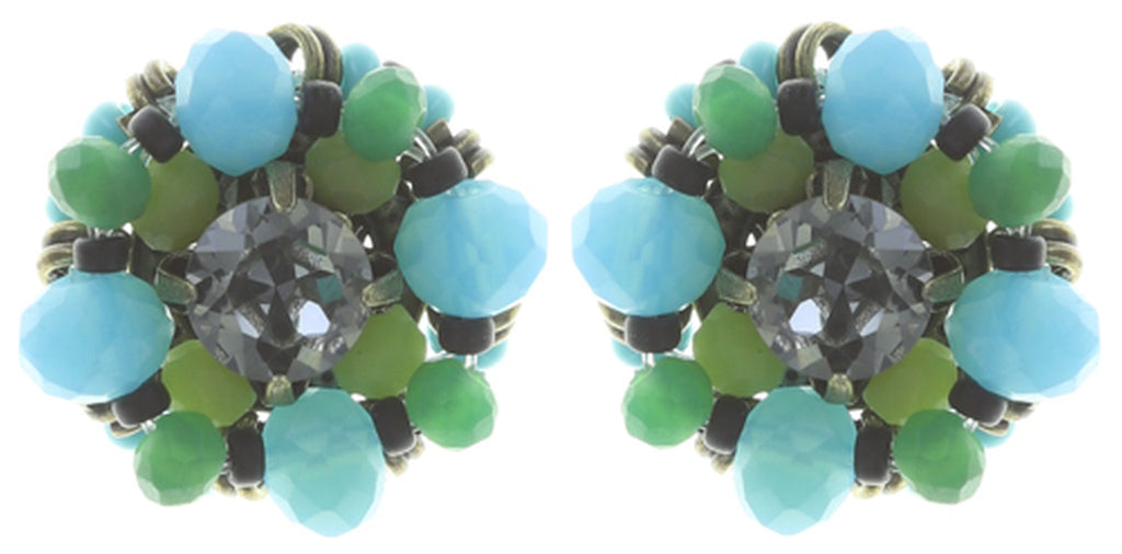 earring stud Beat of the Beads green antique brass