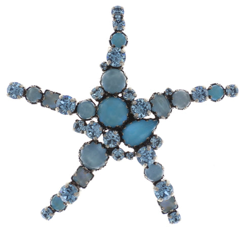 brooch Jelly Star blue Light antique silver size XL