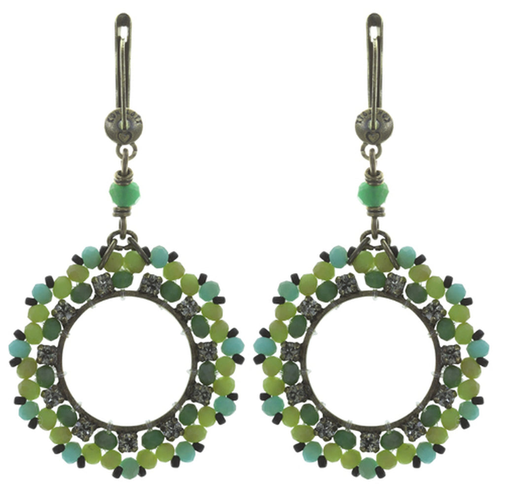 earring dangling Beat of the Beads green antique brass