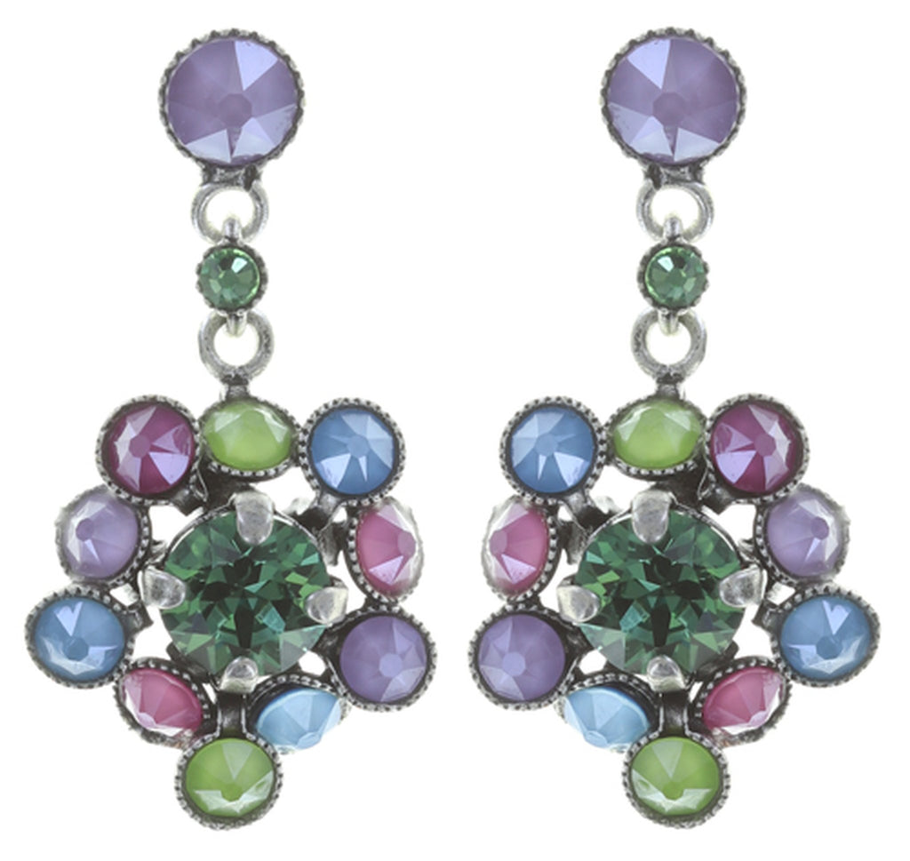 earring stud dangling Caviar Treasure pastel multi Light antique silver