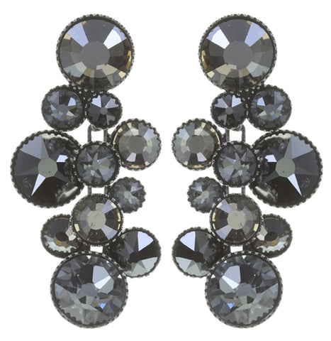 earring stud dangling Water Cascade shades of grey antique silver