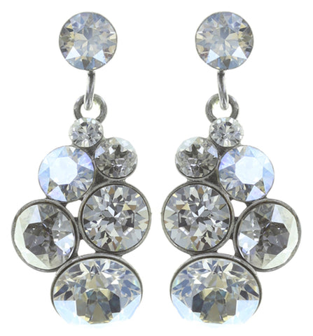 earring stud dangling Petit Glamour white antique silver