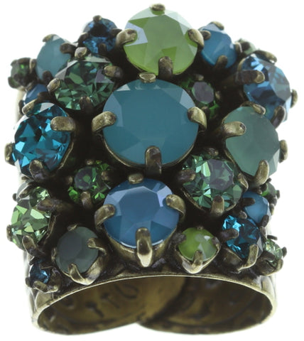ring Ballroom blue/green antique brass
