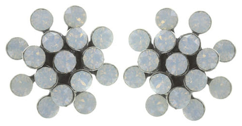 earring stud Magic Fireball white/grey antique silver mini