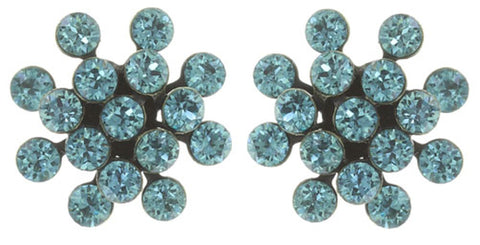 earring stud Magic Fireball blue antique brass mini