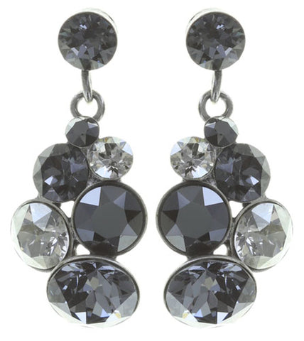 earring stud dangling Petit Glamour black antique silver