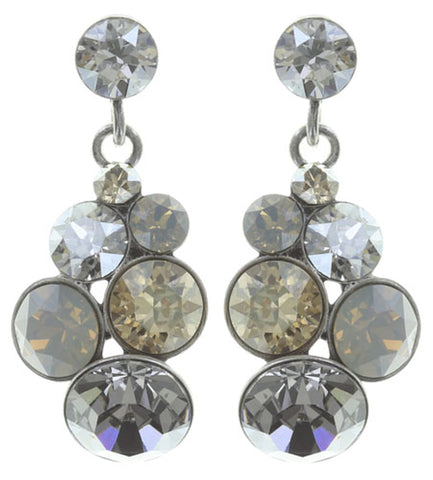 earring stud dangling Petit Glamour beige antique silver
