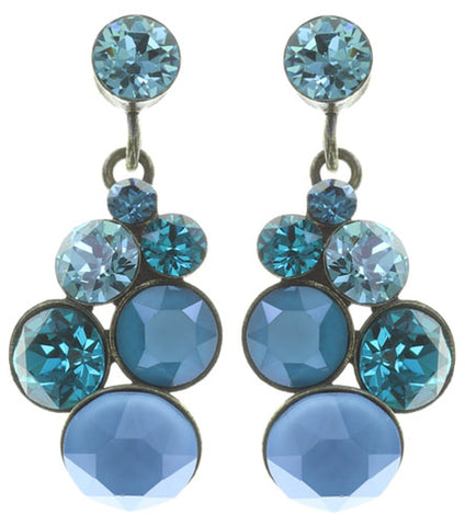 earring stud dangling Petit Glamour blue/green antique brass