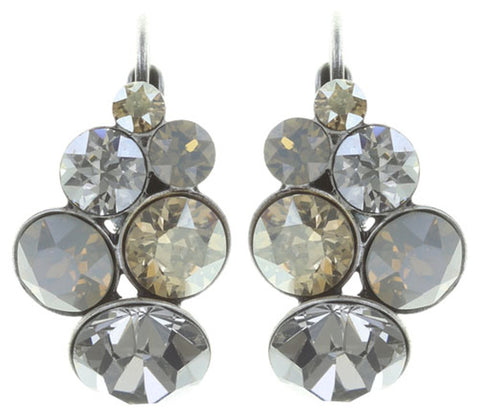 earring eurowire Petit Glamour beige antique silver