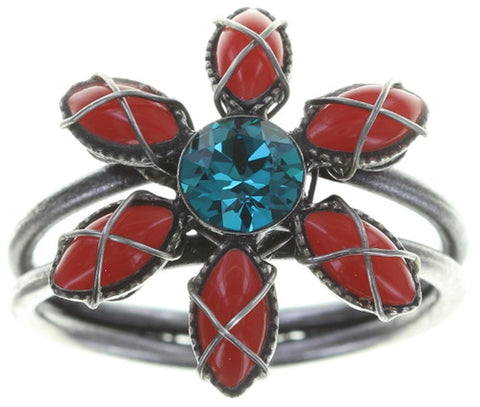 ring Psychodahlia multi antique silver size XS