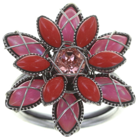 ring Psychodahlia multi antique silver size S