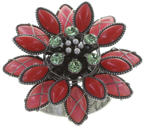ring Psychodahlia multi antique silver size L