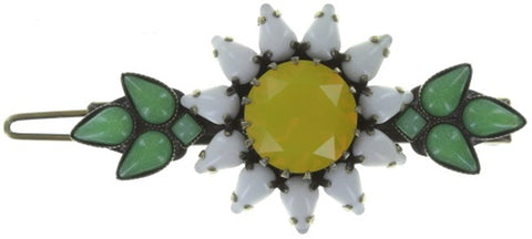 hairclip Sunflower yellow/white/green antique brass size L