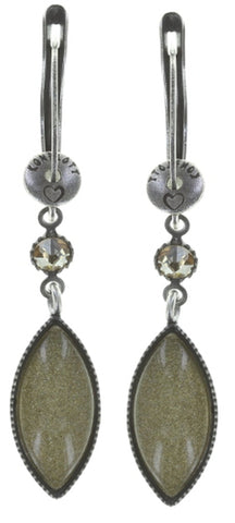 earring dangling Dance with Navette brown antique silver