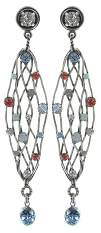 earring stud dangling Cages pastel multi antique silver