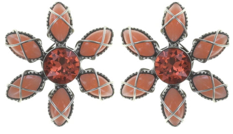 earring stud Psychodahlia pink/orange antique silver size XS