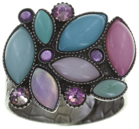 ring Dance with Navette pastel multi antique silver