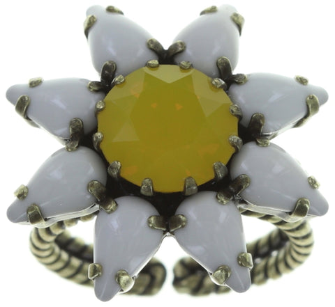 ring Sunflower yellow/white antique brass size S
